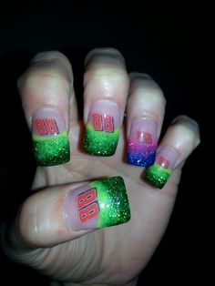 Nascar #88 Dale Jr I would do these all green. Why throw the purple and pink in there?