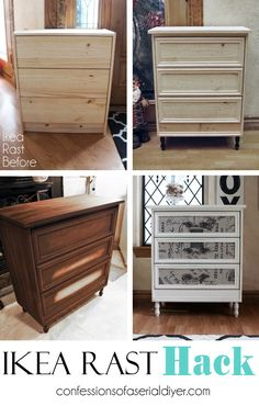 """Ikea Rast Hack pinned from """"confessions of a Serial-Do-it-Yourselfer"""" - Ikea DIY - The best IKEA hacks all in one place Furniture Projects, Diy Furniture, Outdoor Furniture, Ikea Storage, Diy Home Decor, Ikea Hacks, Ikea Hack Rast, Ikea Rast Nightstand, Ikea Dresser Makeover"""