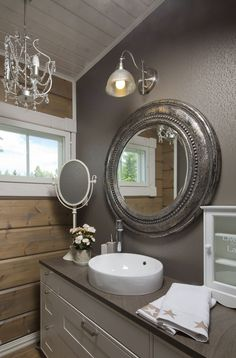 Elegant Interior Designs ∘・゚ Bathroom Toilets, Bathrooms, Interior Decorating, Interior Design, Decorating Ideas, Rustic Elegance, Log Homes, Beautiful Interiors, Accent Walls