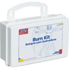 "Burn Kit $36.00   •Kit Includes: •(1) 3"" Conforming Gauze Roll Bandage, Sterile •(1) 3"" x 5 yds Cohesive Elastic Bandage Wrap •(1) 1"" x 5 yds First Aid Tape Roll •(2) 4"" x 4"" Water-Jel Burn Dressings •(1) 4"" x 16"" Water-Jel Burn Dressing •(4) Exam Quality Vinyl Gloves •(1) 4 1/2"" Scissors, Nickel Plated"