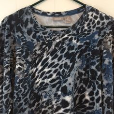 Chicos 2 Womens M L Blue Top Animal Print Stretch Cotton 3/4 Sleeve Blouse 12 14