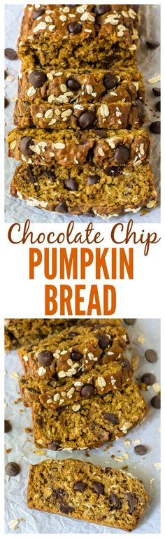 Chocolate Chip Pumpkin Bread. SO moist and filled with warm spices, lots of pumpkin flavor, and melty dark chocolate. Made with whole wheat flour and coconut oil, it's a healthy pumpkin bread recipe too!
