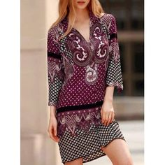 SHARE & Get it FREE   Vintage V-Neck Three Quarter Sleeve Floral Print Women's Straight DressFor Fashion Lovers only:80,000+ Items·FREE SHIPPING Join Dresslily: Get YOUR $50 NOW!