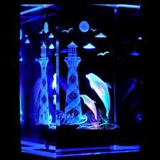 Dolphins with Lighthouse 3D Laser Etched Crystal + Display Light Base