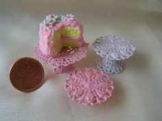 Dollhouse Miniature Lacey Filigree Cake Stand