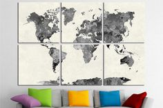 World map 03 blue watercolor paint poster mural decal sticker paper 6 multi panel large world map wall art canvas print world map wall decor world map gumiabroncs Choice Image