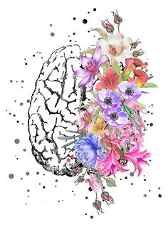 Brain anatomy, watercolor Brain, flowers brain, brain with Flowers