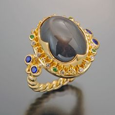 ring 22kt gold granulation black moonstone diamond