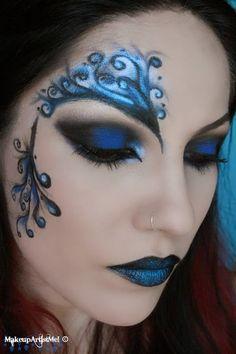 Make-up Artist Me!: Blue Secret- blue masquerade makeup tutorial--  costume halloween