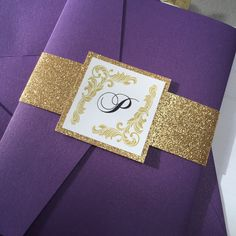 Look at our Camilla suite in the amazing Violette and Gold glitter!!  Glitter wedding invitations available at allthatglittersinvitations.com