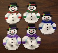 Snowman Perler bead ornament by OtakuBeads on Etsy