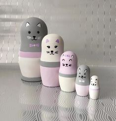 KITTY CATS matryoshka nesting dolls / stacking dolls / | Etsy Cat Lover Gifts, Cat Gifts, Cat Lovers, Crazy Cat Lady, Crazy Cats, Toddler Age, Matryoshka Doll, Montessori Toys, Kitty Cats