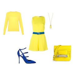 FW - D - PLAYSUIT, SWEATER, PUMPS - YELLOW & BLUE