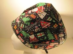 Christmas is just around the corner. Time to think of Holiday Themed hats. This hat is a black background with snow men and Santa with GLITTER all