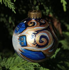 Doctor Who Van Gogh TARDIS Handpainted Glass Christmas by EchoBase