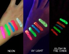 Neon Glow in the Dark Body Paint - the longer you expose the paint to the UV light, the longer it will glow in the dark. #dancepartysupplies #neonpartytheme #neonparty #danceparty #glowinthedarkpaint #glowbodypaint #artisticbodypaint #teenparty #discopartytheme #uvbodypaint