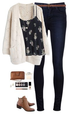 """""""Floral pleated cami with chunky cream cardigan"""" by steffiestaffie ❤ liked on Polyvore featuring J Brand, H&M, Chicwish, Abercrombie & Fitch, Lucky Brand, Kendra Scott, Coach, Kate Spade, Witchery and Juice Beauty"""