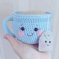 Tea cup & Tea Bag Amigurumi -- Pattern: Tea Cup Amigurumi - Free Pattern: http://www.crochetforchildren.com/2016/10/TeaCupAmigurumi.html