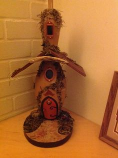 Bowling pin fairy house
