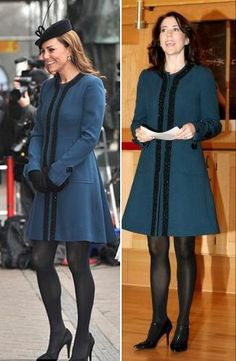 Royal Fashion Style File: Great minds (and princesses) think alike! For today's visit to the London Underground to celebrate its 150th Anniversary, Kate wore a short teal coat By Malene Birger A/S. Mary, Crown Princess of Denmark, wore the same coat in November of 2006, when coincidentally, when she was pregnant too.