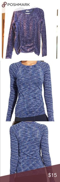 Athleta Dress Blue Spacedye Fastest Track Top Your favorite, go-to training top for high-intensity sweat sessions has our best technologies: Unstinkable, Regul8, and chafe-free seamless fabric. INSPIRED FOR: run, gym/training, studio workouts Raglan sleeves give you room to move Shirring along the sides is fit to flatter Gripper dots along hem stop it from riding up Athleta Tops Tees - Long Sleeve