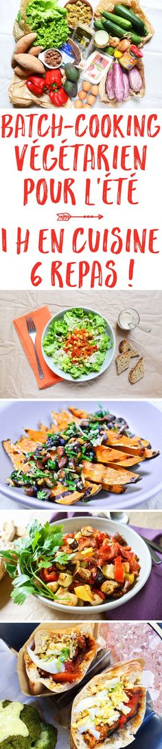 Vegetarian batch cooking for summer: 1 hour in the kitchen, 6 meals! Vegetarian Zucchini Recipes, Vegetarian Chili Easy, Vegetarian Meals For Kids, Low Carb Vegetarian Recipes, Vegetarian Cooking, Easy Healthy Dinners, Easy Healthy Recipes, Easy Dinner Recipes, Batch Cooking