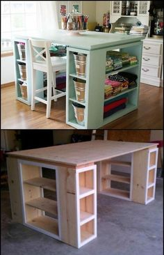 38 Design ideas for newer kitchens with storage solutions When st … - Diy Möbel Sewing Room Organization, Craft Room Storage, Craft Storage Solutions, Kitchen Table With Storage, Coin Couture, Craft Room Design, Craft Desk, Craft Room Tables, Diy Casa