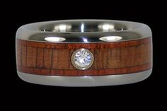 Bloodwood and koa diamond titanium ring