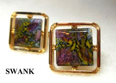 60s SWANK Cuff Links MOD Lucite Psychedelic Art Modern Gold tone Frames Funky Hip Atomic Statement In Box Father Groom Groovy! by JewlsinBloom on Etsy
