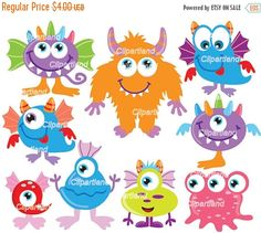 ON SALE INSTANT Download. Cm_25_monsters. Cute monsters clip art. Personal and commercial use. by clipartland on Etsy https://www.etsy.com/uk/listing/400734619/on-sale-instant-download-cm25monsters