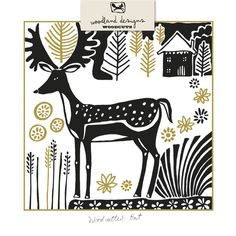 Woodcutter's Hut. Featuring a striking combination of black print and gold foil, Woodland Woodcuts offers a contemporary and distinctive take on the popular printmaking aesthetic.