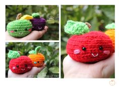 Amigurumi Food: Amigurumi Manzana, Purple plum y Mandarina Free Pattern! Written in English (on photo)  Purple plum and a tangerine/mandarin orange Free. Crochet.