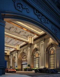 I love the deep blue, contrasted with the golden glow of the warmth inside. Palace Interior, Mansion Interior, Luxury Homes Interior, Classic Architecture, Architecture Details, Interior Architecture, Porte Cochere, Beautiful Buildings, Beautiful Homes