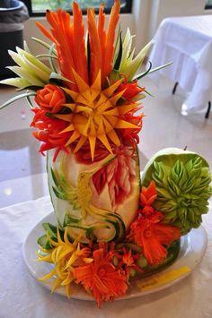 Veggie flowers in vase - food art