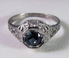 1927 Antique Art Deco Platinum .50 Carat Medium Blue Sapphire Diamond Filigree Ring