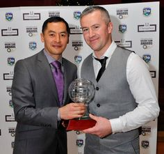 Jason Sherlock, former Irish Dublin Gaelic Footballer, presenting Sean O' Cathasaigh from Carna/Cashel with the Intermediate Dream Team Player of the Year 2012 at the Dream Team Awards 2012 held in Claregalway Hotel on Friday November 30th. Photographer: John McManus