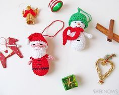 Amigurumi Santa and Snowman Ornaments ~ Free Pattern (3pages)