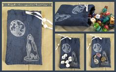 Hand printed Moongazing Hare pouch by Imogen Smid.  Great for storing tarot cards, rune stones, dice, gem stones, coins etc. Available on Etsy.  - moon, handmade, artisan crafts, moon gazing, divination, good luck, runes
