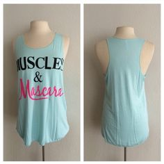 "(plus) Muscles and Mascara tank Muscles/ blue XL: L: 29"" B: 38"" 2x: L: 30"" B: 40"" 3x: L: 31""  B: 42"" Rayon/ spandex/ polyester combination. Very lightweight and EXTREMELY stretchy! Semi sheer. Shirt in photos is XL Availability: XL•2x•3x • 1•2•1 Price is firm unless bundled. No trades⭐️This is a retail item. It is brand new either with manufacturers tags, boutique tags, or in original packaging. Boutique Tops Tank Tops"