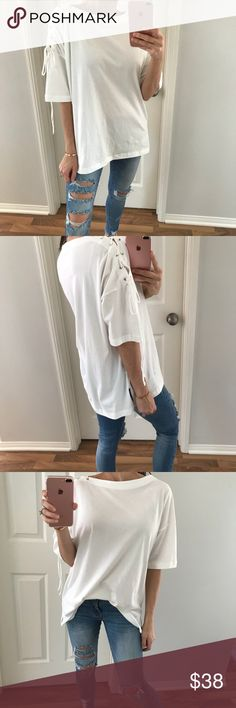 """LAST • Weekend Vibes White Top I just love a cute stylish top! Features an adjustable lace up shoulder, silver grommets, boat neckline, small side slits with a straight body style. Has a relaxed fit that lays so pretty. Available in 3 colors!    ➖ITEM INFO➖ Length: 25"""" Pit to pit: 22""""  Fit: TTS Fabric: 100% Cotton  Modeling: S Difference between each size: 1""""   ➖10% off 3+ items, using """"Self Checkout"""" only Other"""