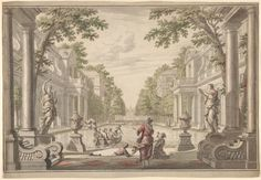 Daniel Marot the Elder | View of a Palace Garden with a Central Pond Surrounded by Classical Architecture (Tapestry or Stage Design?) | The Metropolitan Museum of Art
