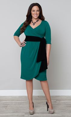 One of our customer favorites, plus size Harlow Faux Wrap Dress, now comes in a beautiful teal option with contrasting black belt.  The black belt brings the eyes to the smallest part of your body, giving you an amazing shape.  #KiyonnaPlusYou #Plussize