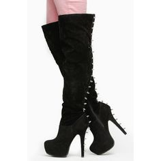 CiCiHot Black Faux Suede Spike Stud Over the Knee Platform Boots ($26) ❤ liked on Polyvore featuring shoes, boots, over-the-knee high-heel boots, knee high platform boots, faux suede knee high boots, platform boots and over-knee boots