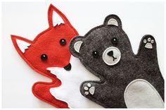 Bär- und Fuchs-Handpuppe aus Wollfilz - Woodland Handpuppets