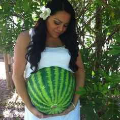 My belly painted as a watermelon!