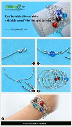 Easy Tutorial on How to Make a Multiple-strand Wire Wrapped Bracelet from LC.Pandahall.com | Jewelry Making Tutorials & Tips 2 | Pinterest by Jersica