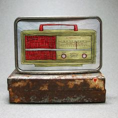 Belt Buckle Vintage Radio Retro Men or Woman by decembermoondesign