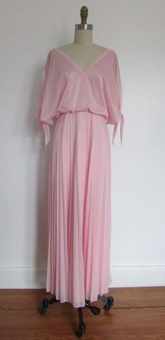 1970's - 1980's pink formal - dress // vintage 70's - 80's pink goddess cocktail dress // medium // gail