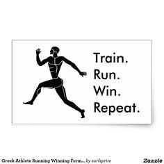 Greek Athlete Running Winning Formula Rectangular Sticker. Train. Run. Win. Repeat.