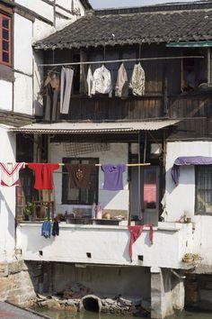 Washing hanging on lines, Zhujiajiao, water town, Shanghai, China.